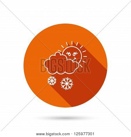 Snow with sun icon. Snowflakes with cloud sign. Snowy overcast symbol. Round orange web button with shadow.