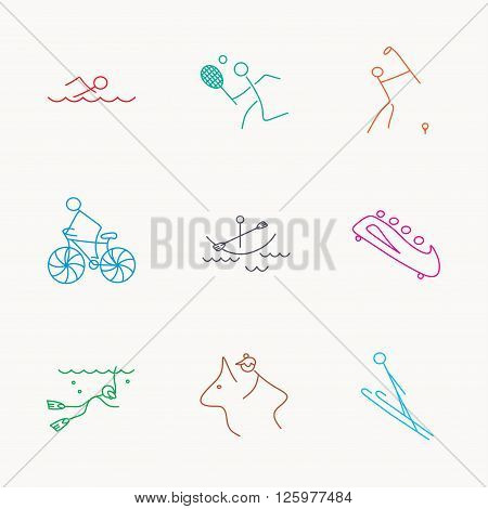 Swimming, tennis and golf icons. Biking, diving and horseback riding linear signs. Ski jumping, boating and bobsleigh icons. Linear colored icons.