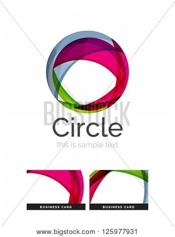 Circle logo. Transparent overlapping swirl shapes. Modern clean business icon