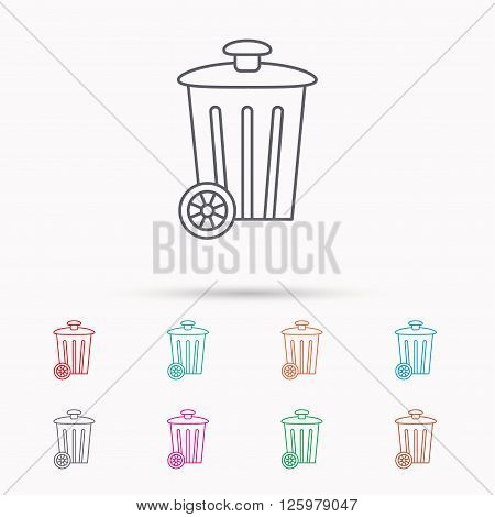 Recycle bin icon. Trash container sign. Street rubbish symbol. Linear icons on white background.