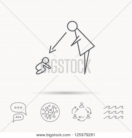 Under nanny supervision icon. Babysitting care sign. Mother watching baby symbol. Global connect network, ocean wave and chat dialog icons. Teamwork symbol.