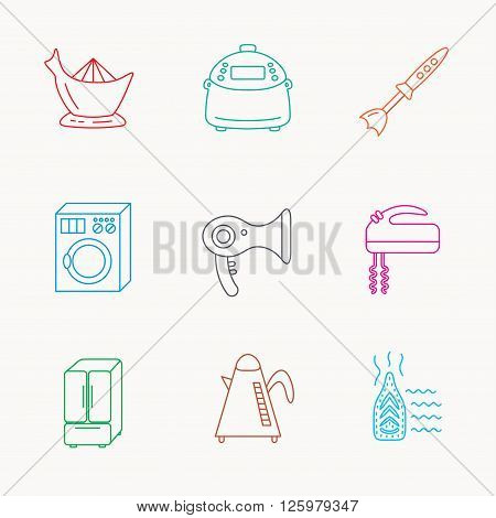 Washing machine, teapot and blender icons. Refrigerator fridge, juicer and steam ironing linear signs. Hair dryer, juicer icons. Linear colored icons.