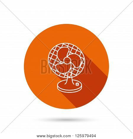 Ventilator icon. Fan or propeller sign. Round orange web button with shadow.