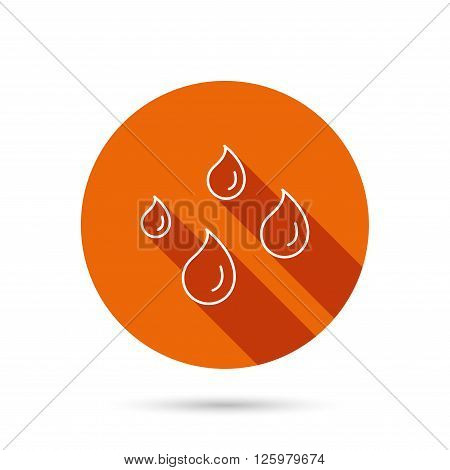 Water drops icon. Rain or washing sign. Rainy day symbol. Round orange web button with shadow.