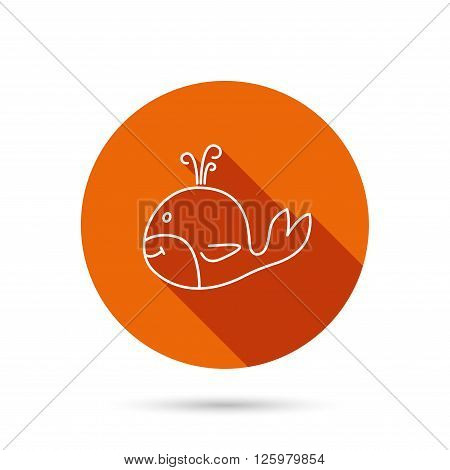 Whale icon. Largest mammal animal sign. Baleen whale with fountain symbol. Round orange web button with shadow.