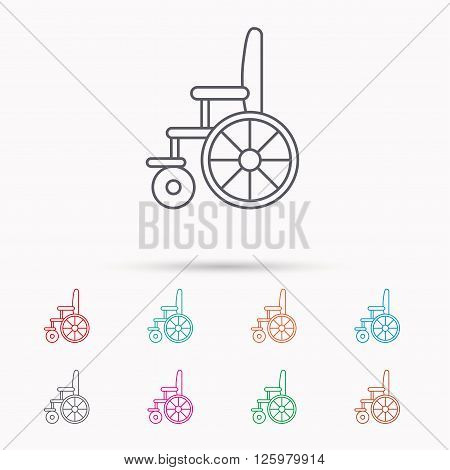Wheelchair icon. Disabled traffic sign. Linear icons on white background.