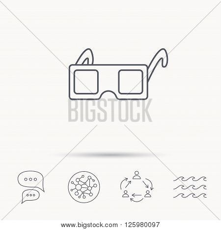 3D glasses icon. Cinema technology sign. Vision effect symbol. Global connect network, ocean wave and chat dialog icons. Teamwork symbol.