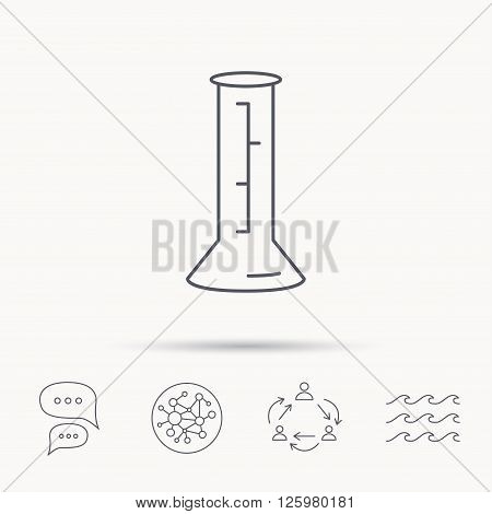 Beaker icon. Laboratory flask sign. Chemistry or pharmaceutical symbol. Global connect network, ocean wave and chat dialog icons. Teamwork symbol.