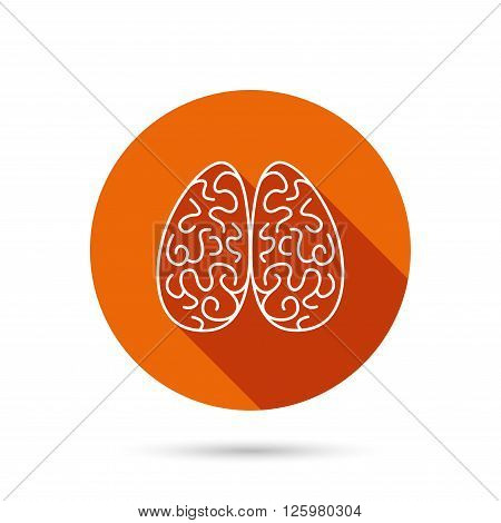 Neurology icon. Human brain sign. Round orange web button with shadow.