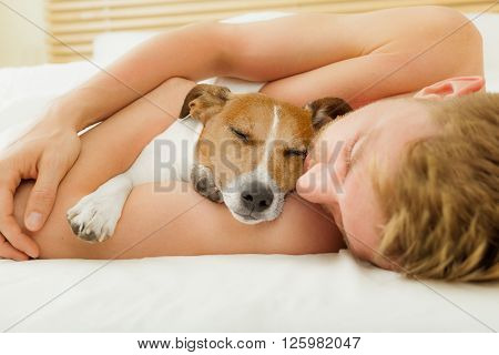 Dog And Owner In Bed