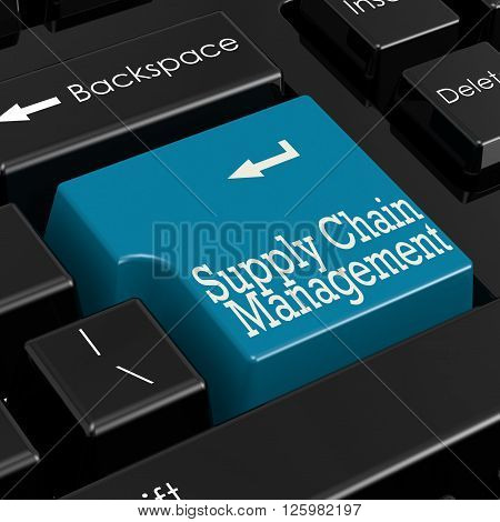 Supply chain management concept. Blue keyboard button., 3d rendering