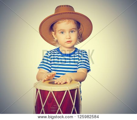 Little Funny Girl  Play Drum.