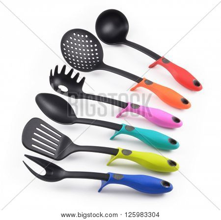 Kitchen utensil collection isolated on white background.