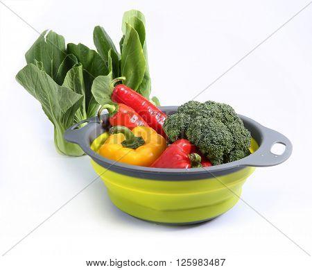 vegetables in plastic basket