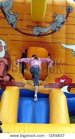Girl Playing/ Entering Bouncy Castle