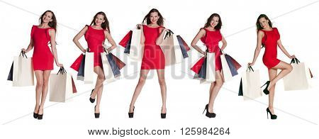 Shopping Collage, Fashion happy women portrait isolated on white background. Happy girls hold shopping bags. Red dress. female beautiful models