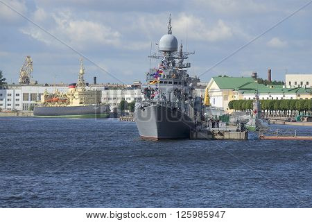 ST. PETERSBURG, RUSSIA - JULY 25, 2015: Small anti-submarine ship