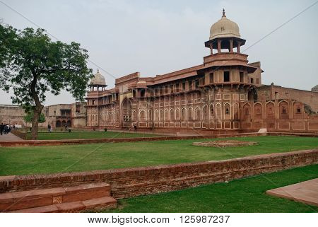 Walls Of The Red Fort Of Agra, India. Unesco World Heritage Site