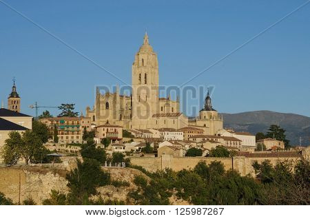 Segovia, Spain. Panoramic View Of The Historic City Of Segovia Skyline With Catedral De Santa Maria