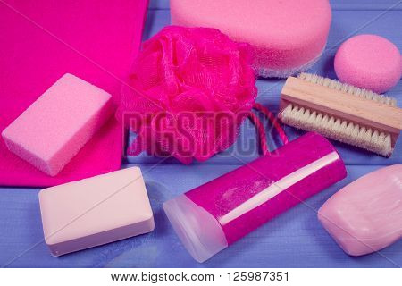 Vintage photo Cosmetics and accessories for personal hygiene , soap body scrub sponge towel pumice brush