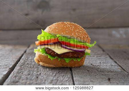 Hamburger, Homemade Hamburger With Fresh Vegetables