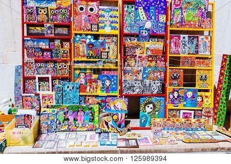 Zadar, Croatia - July 28, 2015: Colorful Souvenirs In Zadar During The Summer
