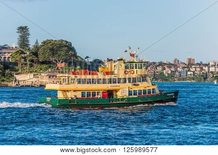 Sydney Australia - November 7 2014: One of Sydney's iconic ferries Fishburn steams across the waters of Sydney Harbour on its route between Circular Quay and Manly.
