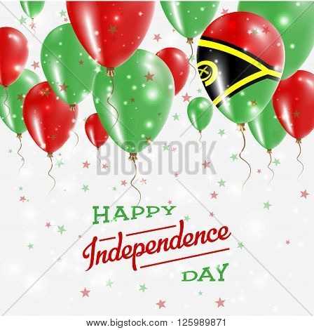 Vanuatu Vector Patriotic Poster. Independence Day Placard With Bright Colorful Balloons Of Country N