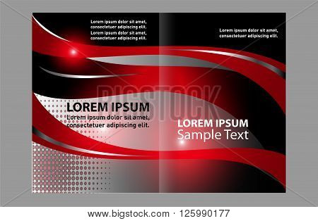 Corporate bi Fold Brochure vector illustration. Red brochure bi fold template