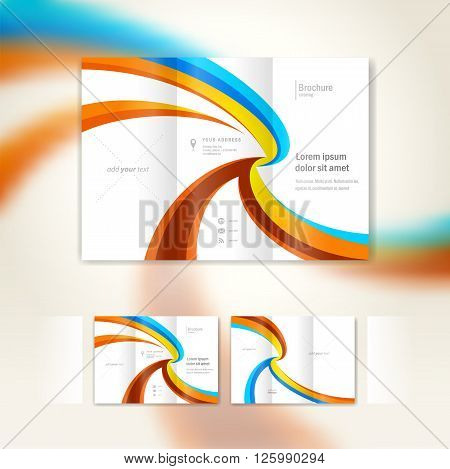 brochure wave design template folder leaflet geometric abstract curves colored