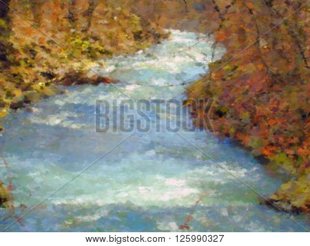 Spring brook dry brush watercolor painting image