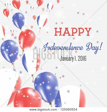 France Independence Day Greeting Card. Flying Balloons In France National Colors. Happy Independence
