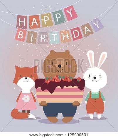 Cute Happy Birthday card with funny animals. Bear, hare, fox and cake. Vector illustration eps10.