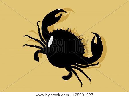 icon crab. A silhouette of a black crab on sand