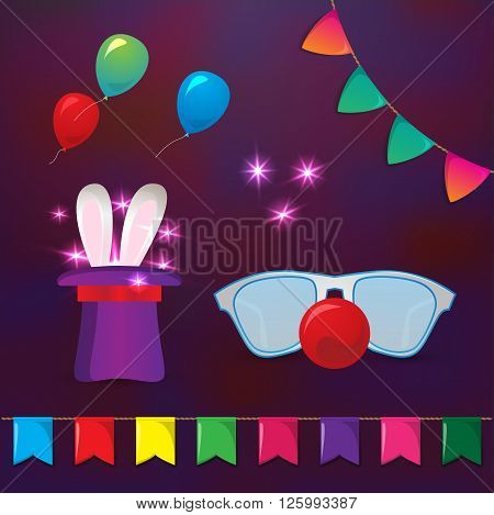 Circus elements. Magic hat with rabbit ears and clowns glasses with red nose. Elements for party design. Magic trick on dark background.