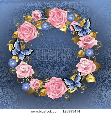 Round wreath of pink roses violets blue gold jewelery and blue leaves with blue butterflies on a blue background brocade. Design of roses
