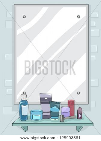 Illustration of a Mirror with Grooming for Products for Men Displayed on the Shelf