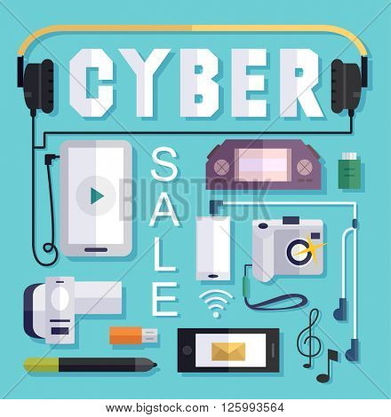 Illustration Featuring a Cyber Sale Poster