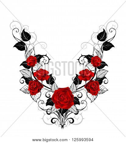 Symmetrical pattern of red roses and black leaves and stems on a white background. Design of roses. tattoo style.