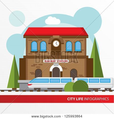 Train station building icon in the flat style. Railway station. Concept for city infographic. Different types of Municipal life of the city in the flat style.