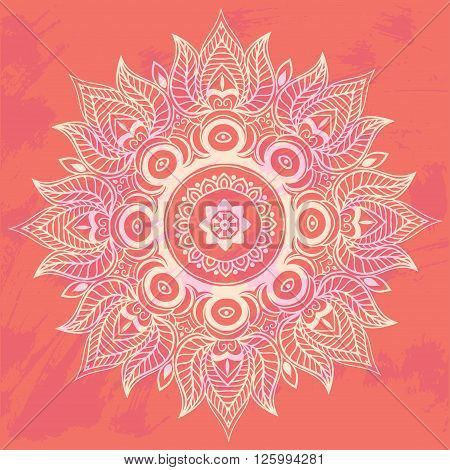 Ornament invitation card with mandala. Geometric circle element made in vector. Mandala for decoration holiday cards, background and sites. Kaleidoscope, medallion, yoga, India, arabic
