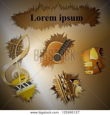 Vector illustration of musical background with gold breaks with guitar saxophone trumpet piano. There is a place for text or image.