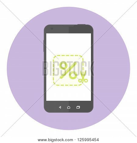 Mobile Phone With Discount Coupon On The Screen