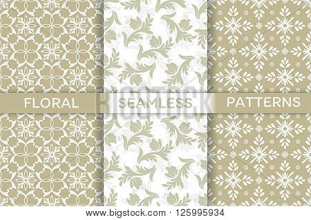 Vector seamless pattern. Set of luxury elegant floral textures. Patterns can be used as background fabric print surface texture wrapping paper web page backdrop wallpaper and more