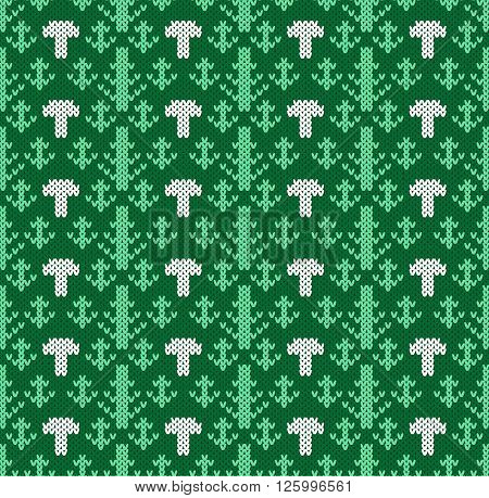 Knitted pattern of forest trees with cepes. Handwork ornament. Seamless pattern. Vector illustration.