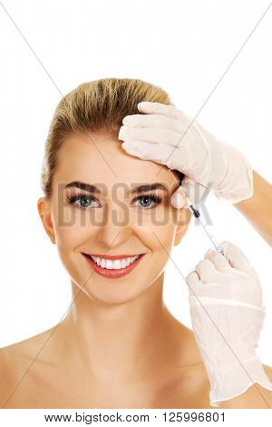 Cosmetic botox facial injection
