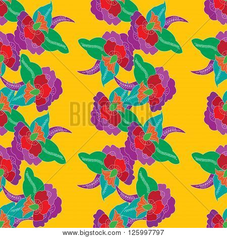 Seamless vector background with floral motifs in East style. Vintage. Floral seamless background for design in Eastern style. Decorative pattern decoration background paper card stock covers