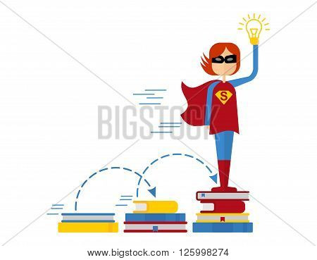 Female superhero gets education. Girl Superman generates ideas. Conceptual image of success and leadership.Cartoon flat vector illustration. Objects isolated on a background.