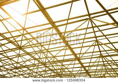 Metal pillar structure of modern office buildings glass roof windows