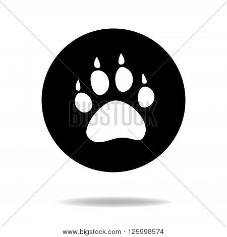 Animal dog paw black and white flat icon, vector background
